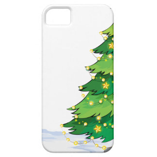 An empty christmas template with a christmas tree iPhone 5 cover