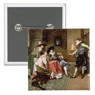 An Engaging Tale, 1894 (oil on panel) 2 Inch Square Button