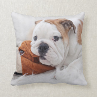 An English Bulldog Puppy Playing With A Bulldog Throw Pillow