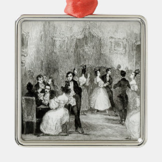 An Evening at the House of Charles Nodier  1831 Silver-Colored Square Ornament