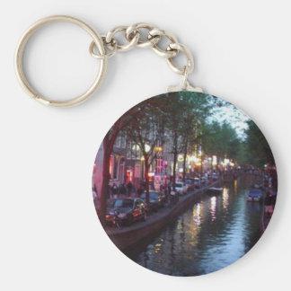 An evening in Amsterdam Basic Round Button Keychain