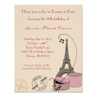 "An Evening in Paris Pink Themed Party Invitation 4.25"" X 5.5"" Invitation Card"