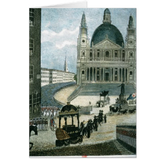 An exact representation of the grand funeral car card