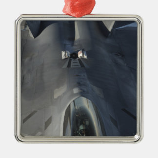 An F-22 Raptor moves into position to receive f Silver-Colored Square Ornament