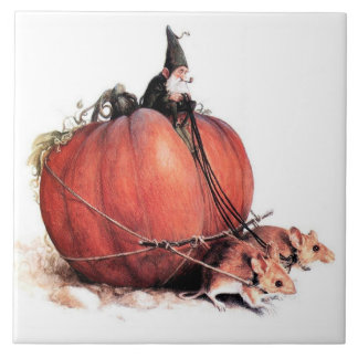 AN GNOME RIDING A PUMPKIN PULLED BY MICE TILE