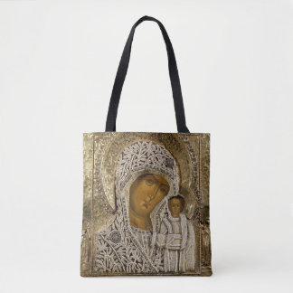 An icon showing the Virgin of Kazan Tote Bag