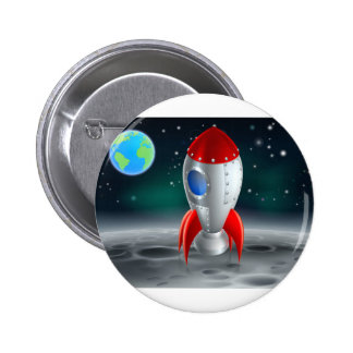 An illustration of a cartoon retro space rocket sh 2 inch round button