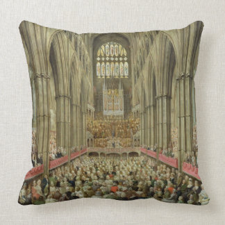 An Interior View of Westminster Abbey on the Comme Throw Pillow