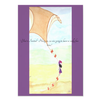 An invitation with a girl flying up with her kite.