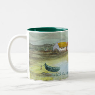 """An Irish Cottage"" by Brigid O'Neill Hovey Two-Tone Coffee Mug"