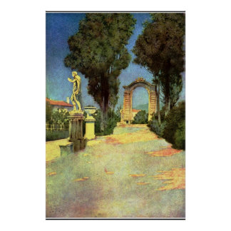 An Italian Garden by Maxfield Parrish Poster