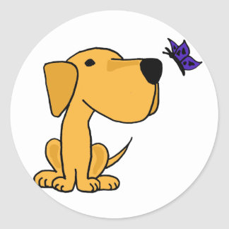 AN- Labrador Retriever Watching Butterfly Cartoon Classic Round Sticker