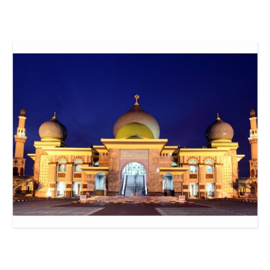 An Nur golden Mosque Pekanbaru, Sumatra Postcard