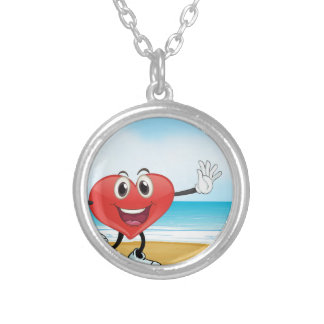 an ocean and a heart silver plated necklace