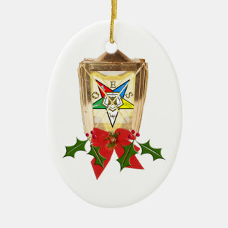 An OES Holiday Lantern Ceramic Ornament