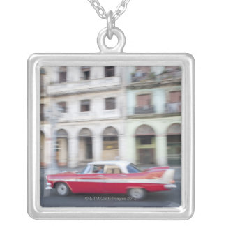 An old car cruising the streets of Havana, Cuba. Silver Plated Necklace