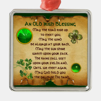 An Old Irish Blessing Parchment Silver-Colored Square Ornament