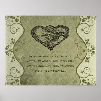 AN OLD IRISH WEDDING Blessing Distressed Damask Poster