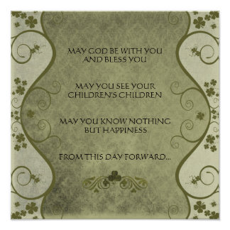 AN OLD IRISH WEDDING Blessing Distressed Damask Poster