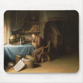 An Old Man Lighting his Pipe in a Study Mouse Pad