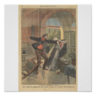 An Old Man Stabs a Young Novice at the Convent Poster