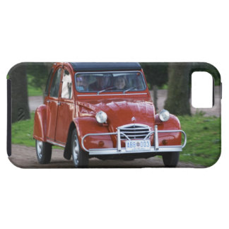 An old red Citroen 2CV car with a smiling woman Case For The iPhone 5