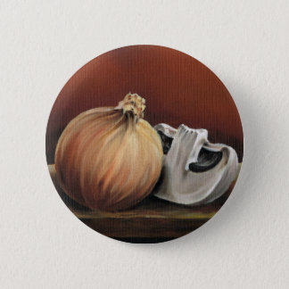 An onion and a mushroom 2 inch round button