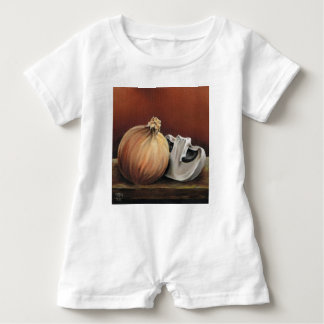 An onion and a mushroom baby romper