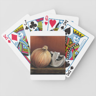 An onion and a mushroom bicycle playing cards