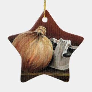 An onion and a mushroom ceramic ornament