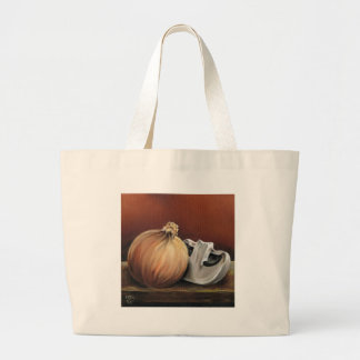 An onion and a mushroom large tote bag