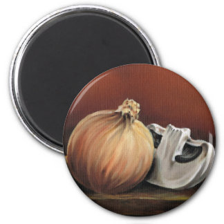 An onion and a mushroom magnet