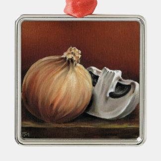 An onion and a mushroom metal ornament