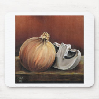 An onion and a mushroom mouse pad