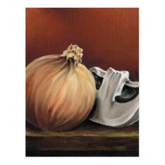 An onion and a mushroom postcard