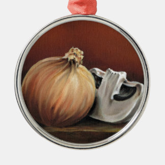 An onion and a mushroom Silver-Colored round ornament