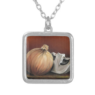 An onion and a mushroom silver plated necklace
