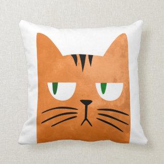 An orange cat with an attitude throw pillow