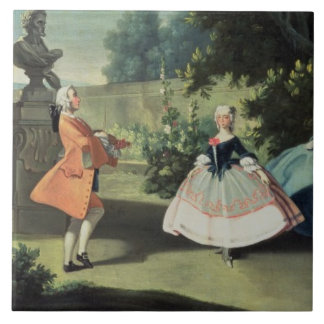 An ornamental garden with a young girl dancing to ceramic tile