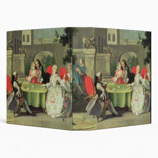 An ornamental garden with elegant figures seated a vinyl binders