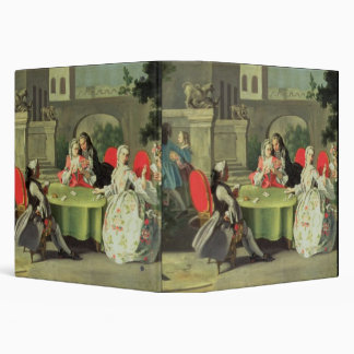 An ornamental garden with elegant figures seated a vinyl binder