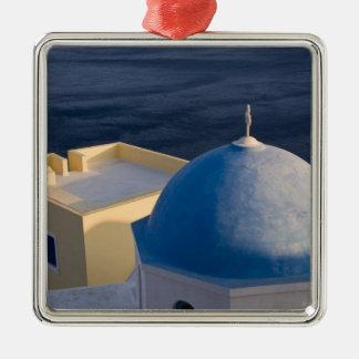 An Orthodox Church near the sea, Oia Santorini Silver-Colored Square Ornament