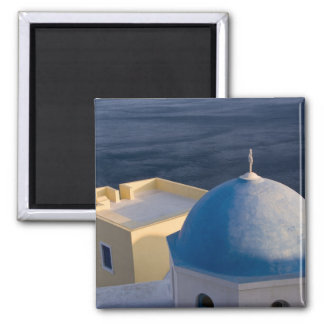 An Orthodox Church near the sea, Oia Santorini Square Magnet