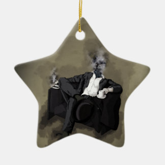 An Uncomfortable Gentleman Ceramic Star Ornament
