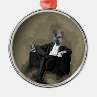 An Uncomfortable Gentleman Silver-Colored Round Ornament