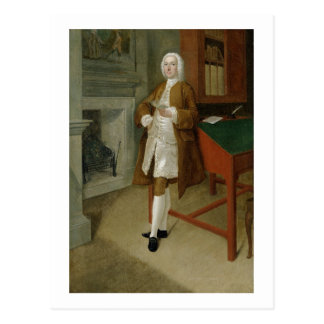 An Unknown Man in a Library, c.1740-41 (oil on can Postcard