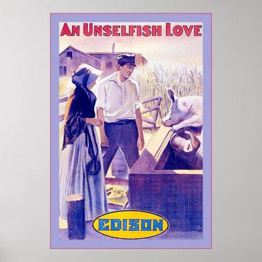 An Unselfish Love ~ Vintage Movie Poster ~ 1910
