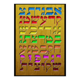 """Ana b""""Koach ~ Initial Letters ~ Gold Poster"""