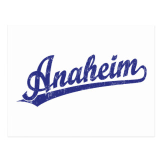 Anaheim script logo in blue postcard