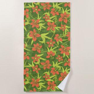 Anaina Hou Hawaiian Tropical Floral - Moss Green Beach Towel